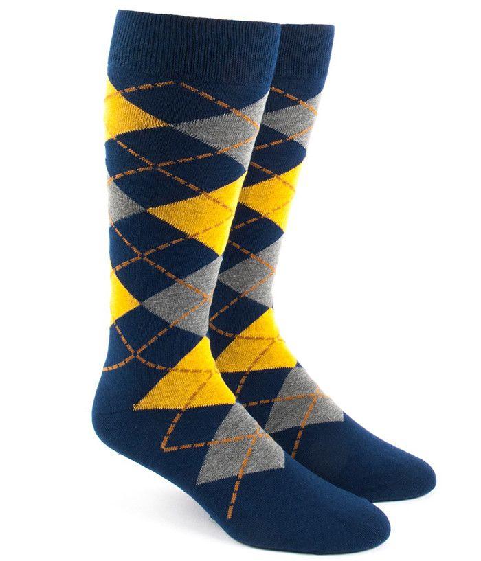 Description - Yellow Argyle printed Navy socks - Men's shoe size 7-12 - Combed cotton/Polyamide/Elastane Blend - Machine Washable Long The Tie Bar's soft, cotton blend socks are great for groomsmen gi
