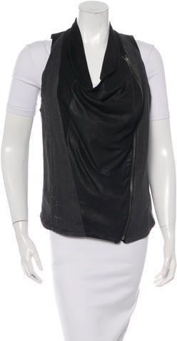 Helmut Lang Denim & Leather Vest
