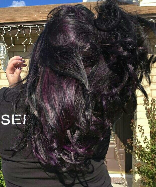 Added a little color to this box black using pravana purple and joico amethyst lightened using olaplex.