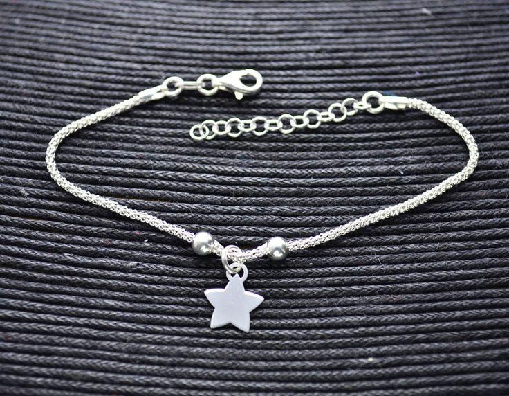 Pulsera de Plata Estrella Central