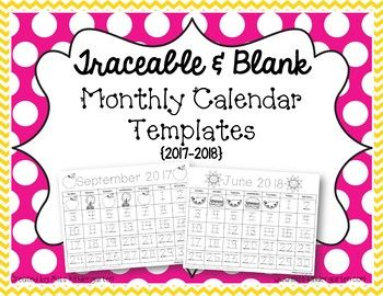Updated to include all months for 2017-2018! Have your students practice tracing and/or writing their numbers each month with these cute monthly calendars. This is a great way to reinforce patterning skills. You can fold a large piece of construction paper {9x12} in half and glue the calendar to the bottom half.