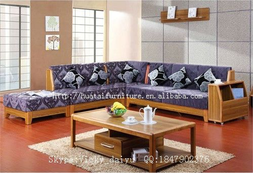 Solid Wood Sofa Living Room Furniture Fabric Comfortable L