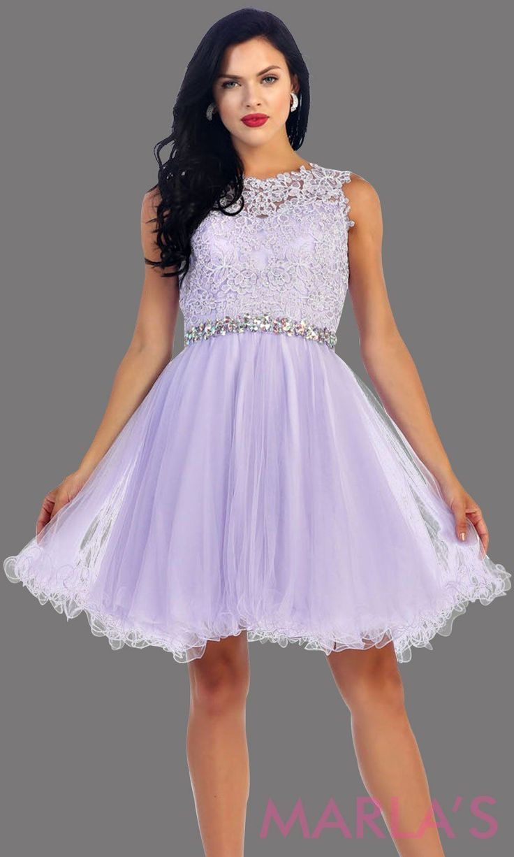 ef3926fb854c Short puffy lilac high neck dress with lace bodice. It features a  rhinestone belt around the waistline. This is perfect for light purple grade  8 graduation