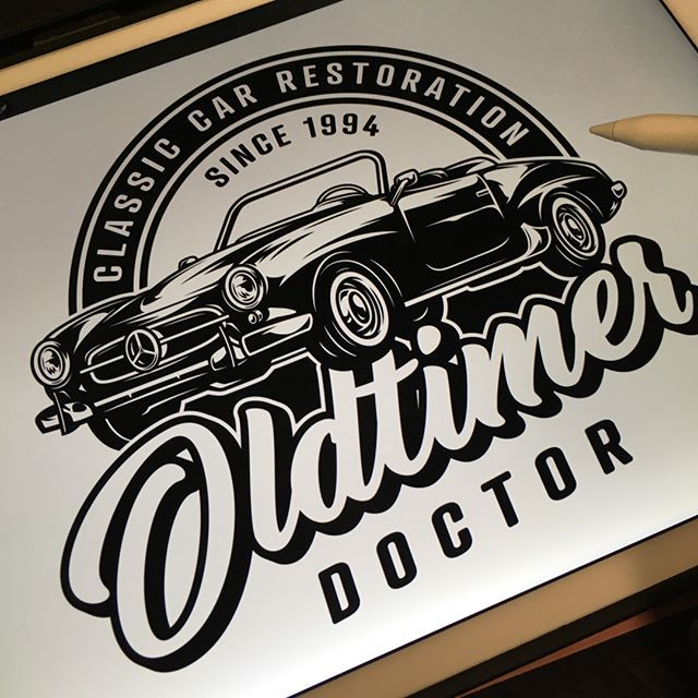 Vintage Car monochrome detailed logo design created by ...