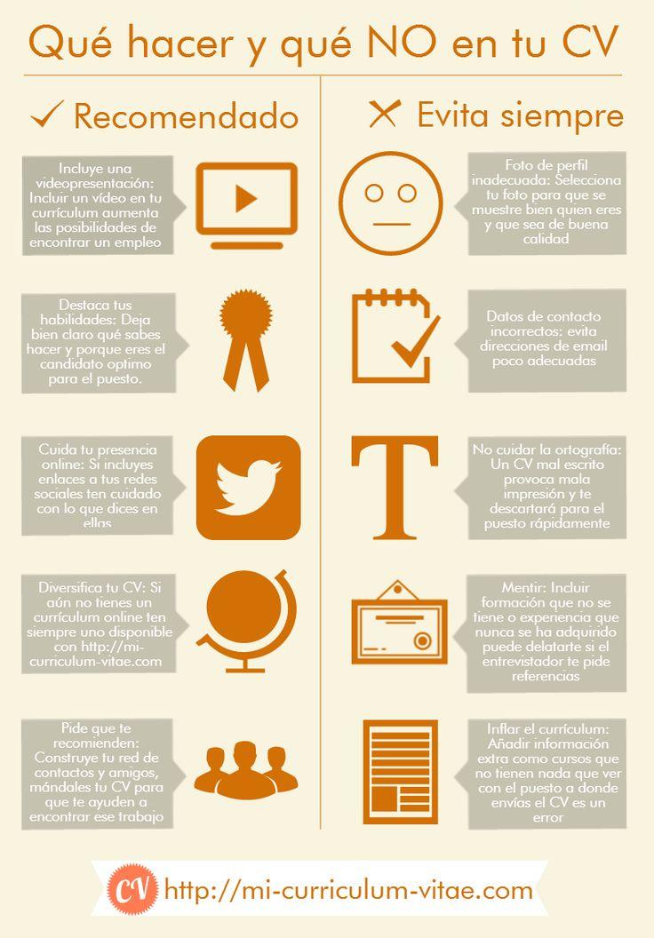 Qué hacer y no hacer en tu Curriculum Vitae Vía: http://mi-curriculum-vitae.com/ #infografia #infographic #empleo