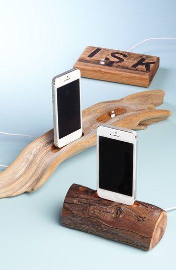 Repurposed Oak Whiskey Barrel iPhone 5 Docks