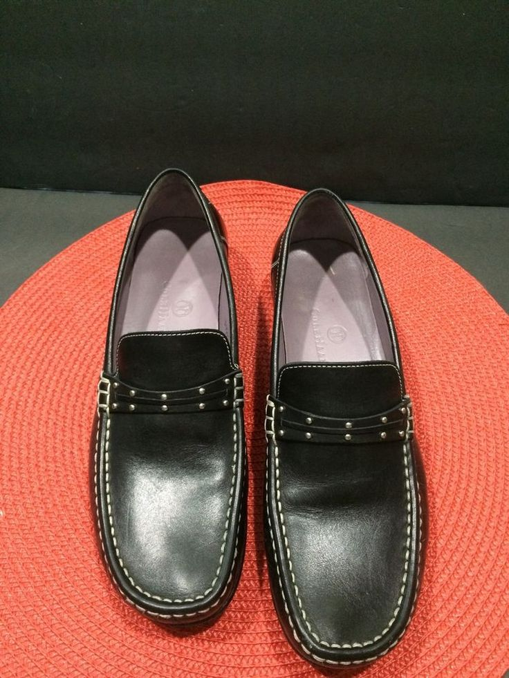 Cole Haan Womens Loafers Black Slip On 8 M Top Stitched Silver Brads #ColeHaan #LoafersMoccasins #Casual