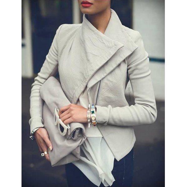 Elegante Turn-Giù colletto a maniche lunghe che dimagrisce Moncler Donna colore solido | TwinkleDeals.com
