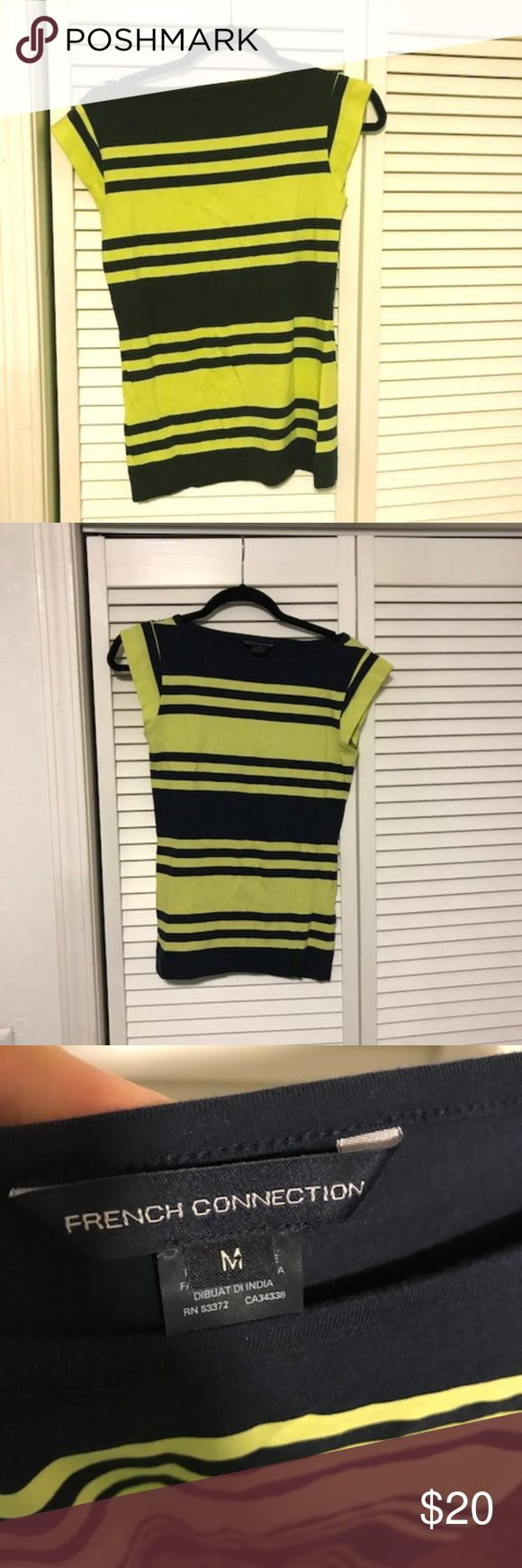 Yellow and Navy womens French Connection Tshirt NWOT, never worn, from a non-smoking home. French Connection Tops Tees - Short Sleeve