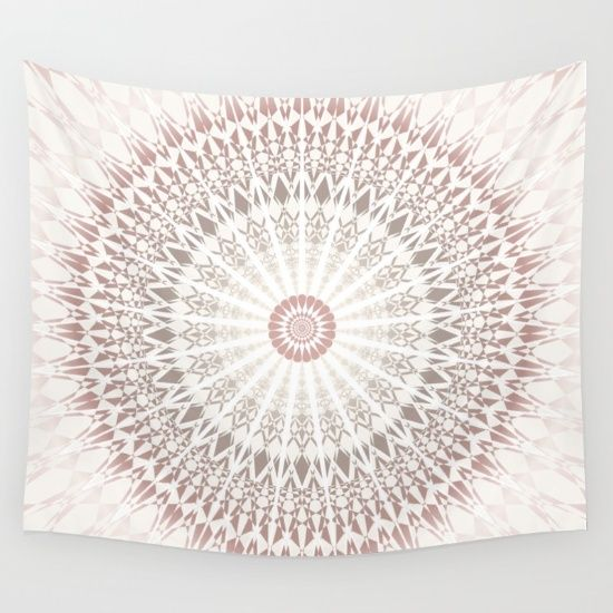 A #cream #rose #taupe #mandala. It represents the sacred circle in mild and soft colours. Matching bedding set available! My mandala art is created to make your home a cozy, recreative place to obtain inner strength and reduce stresses.    #walltapestry #tapestry #modern #ninabaydur #dormroom #dormtrends #stylish #trendy #modern #boho #bohemian #chevron #zigzag #walldecor  #ornament #medallion #circle.