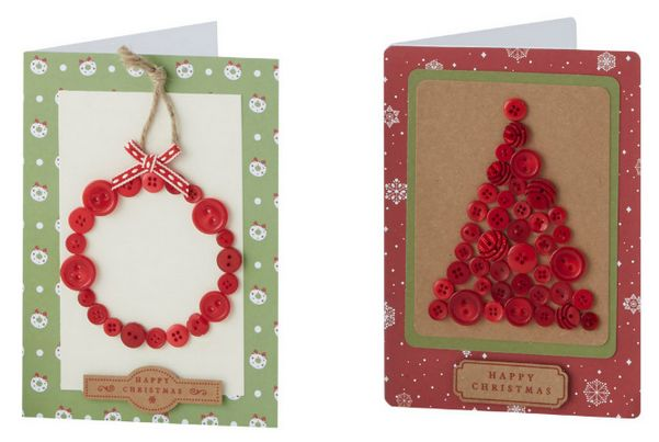 Christmas Button Cards #papercraft #buttons #cardmaking
