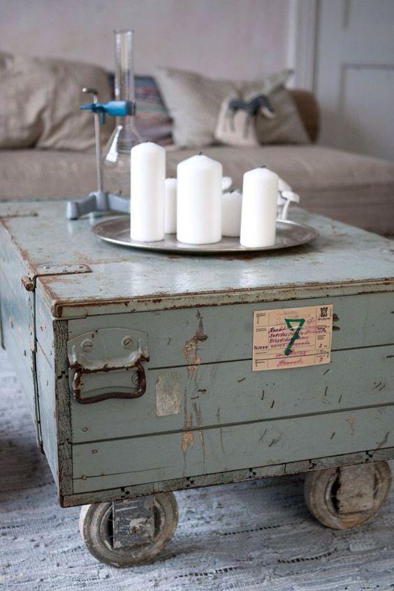 Kist als salontafel - industrieel interieur - industrial interior - vintage