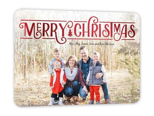 Brilliant Greeting Christmas Card, Rounded Corners, Redfoil