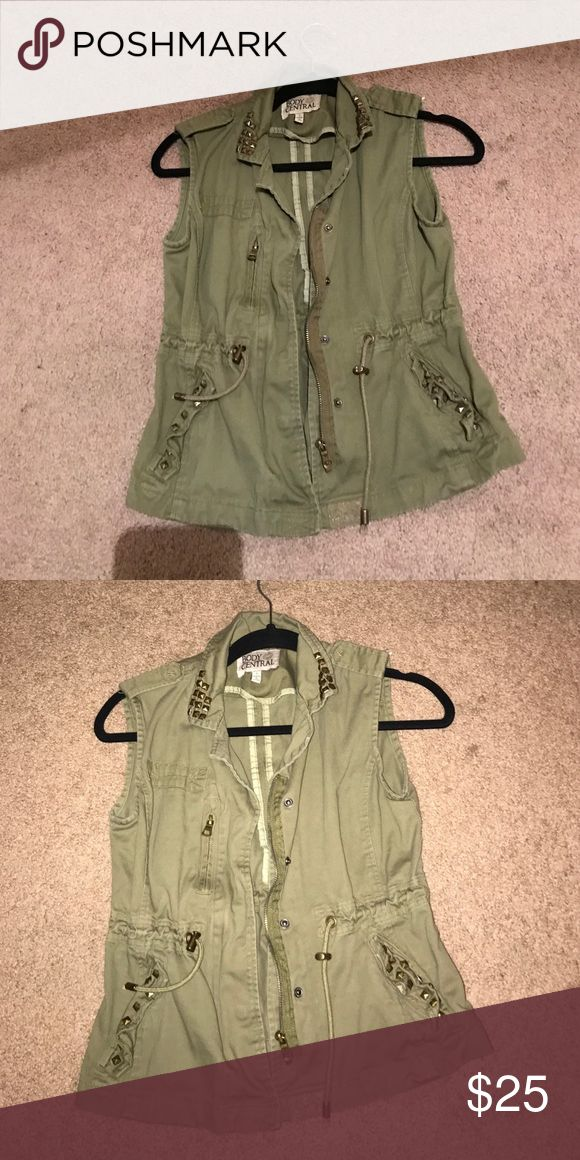 Vest Green vest with bronze zipper and button type things Body Central Jackets & Coats Blazers