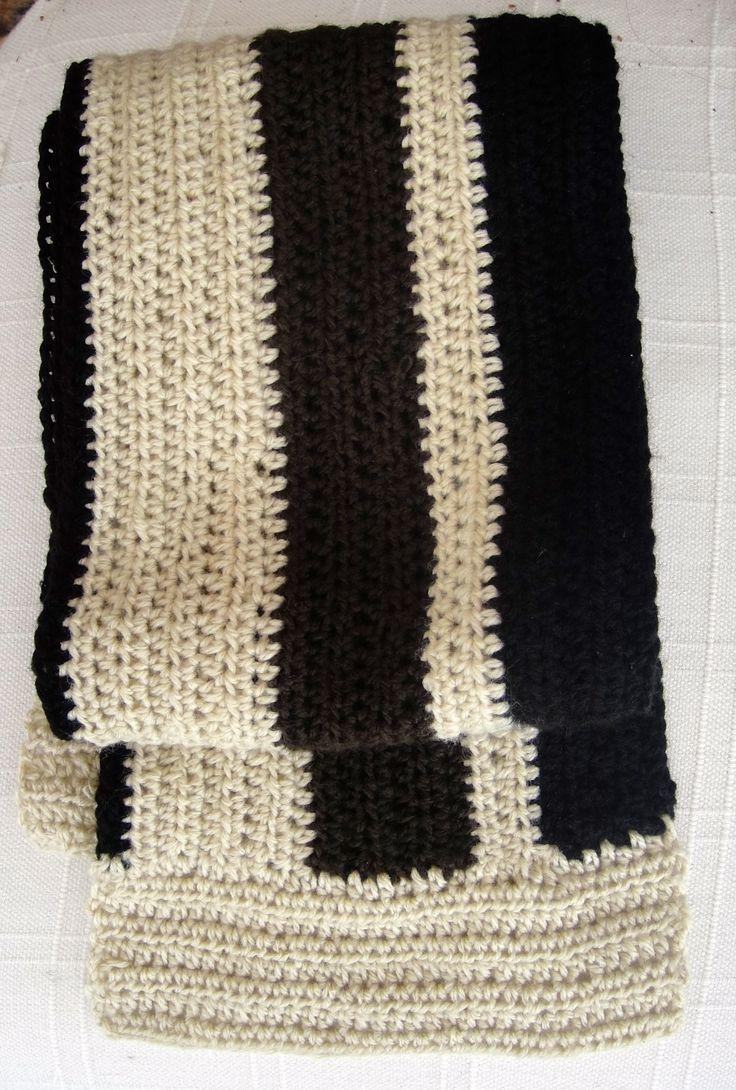 Bufanda de lana para hombre tejida en Crochet (Punto Media Vareta) en tres colores