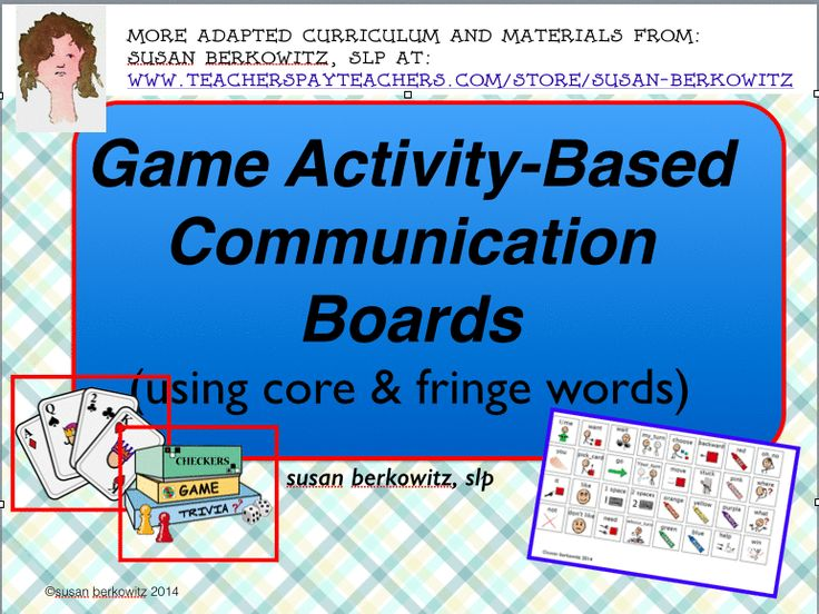 Game activity based communication boards $ Click the pin to see the pages via animated gif. http://www.teacherspayteachers.com/Product/Activity-Based-Communication-Boards-for-Games-for-AAC-Users-1421310 $