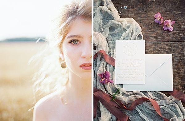 Свадебная фотография на пленку в стиле Fine Art. Свадьба в пшеничном поле. Wheat Field Elopement
