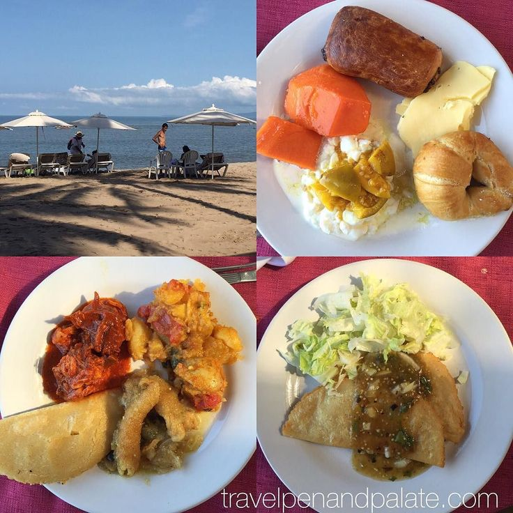 #Sundaybreakfast at the #beachfront Hotel Los Arcos with a gentle breeze off the #PacificOcean: 1st plate - stewed #passionfruit over #cottagecheese #papaya white cheese & pastery 2nd plate - chicken in red sauce potatoes w/ onions & peppers #porkcrackelings stewed in onions 3rd plate - cheese #quesadillas w/ green salsa & lettuce #wevisitvallarta #puertovallarta #Mexico @latitude_intl @visitpuertovallarta #foodie