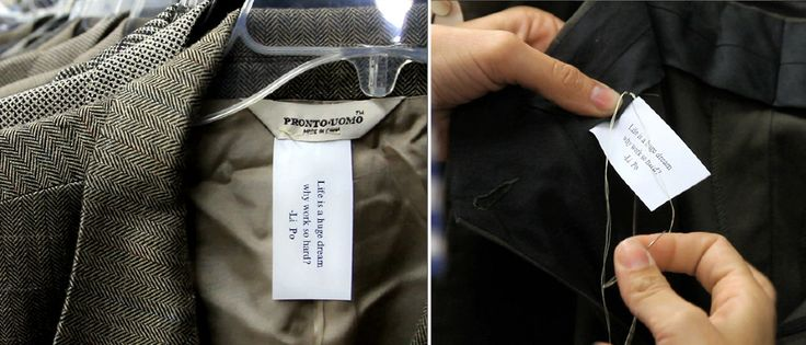 """Agustina Woodgate sews poems into thrift shop clothes: """"Sewing poems in clothes is a way of bringing poetry to everyday life just by displacing it, by removing it from a paper to integrate it and fuse it with our lives. Sometimes little details are stronger when they are separated from where they are expected to be."""""""