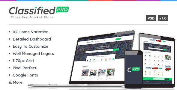 Classified Pro - Classified and Listing Template - Corporate PSD Templates