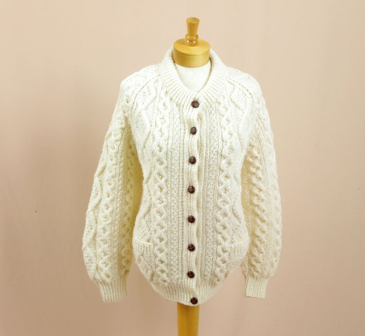 80s Wool Cable Knit Cable Knit Sweater * Cream Wool Cardigan * Blarney Irish Wool Sweater * Knit Cardigan * Preppy Sweater by englishrosevintageoh on Etsy