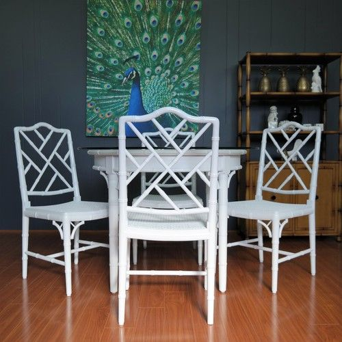 1970s Vintage Faux Bamboo Dining Chairs :: Set of 4 :: Refinished
