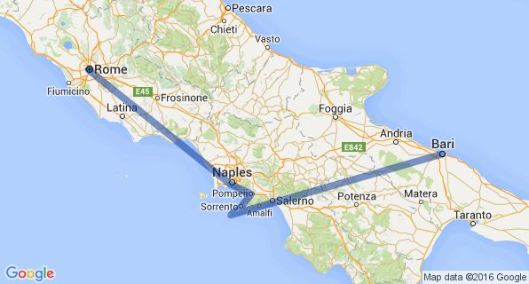 Southern Italy Itinerary Map