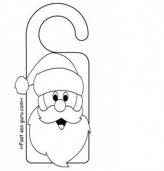 printable santa claus door knob hanger craft for kidsfree online print out christmas activities - Print Out Activities