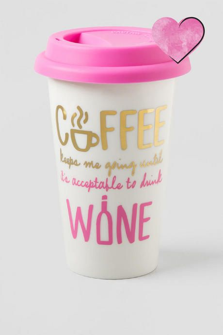"""Coffee Keeps Me Going Until It's Acceptable to Drink Wine"" Enjoy your morning coffee or tea in this funny & girly travel mug"