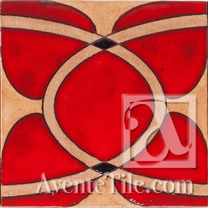 "Geometrical Ellipse D 6"" x 6"" Hand-Painted Ceramic Tiles 