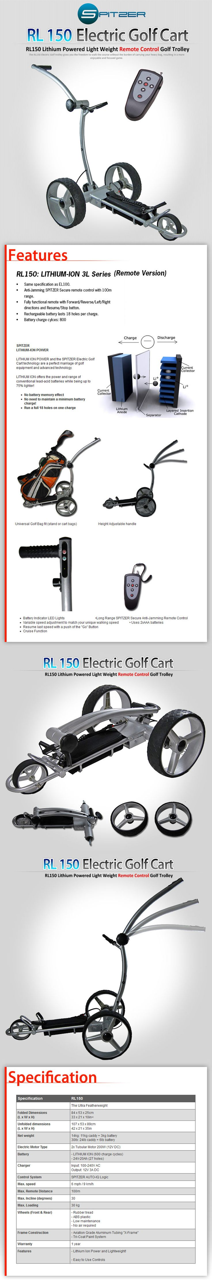 Golf Carts | Push | Pull | Cheap | Buy | Playability Guarantee | Spitzer RL150 Lithium Powered Light Weight Remote Control Golf Trolley, Spitzer Electric Golf Cart, Discount Electric Golf Cart, Olympic Golf