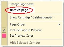 "The Non-Crafty Crafter: CRICUT: Design Studio - Renaming pages--If you have multiple pages in your design it's sometimes useful to rename them from ""untitled page"" to something a bit more descriptive. Here's how you do it: Right click somewhere on your page (not on the tab as you would expect)"