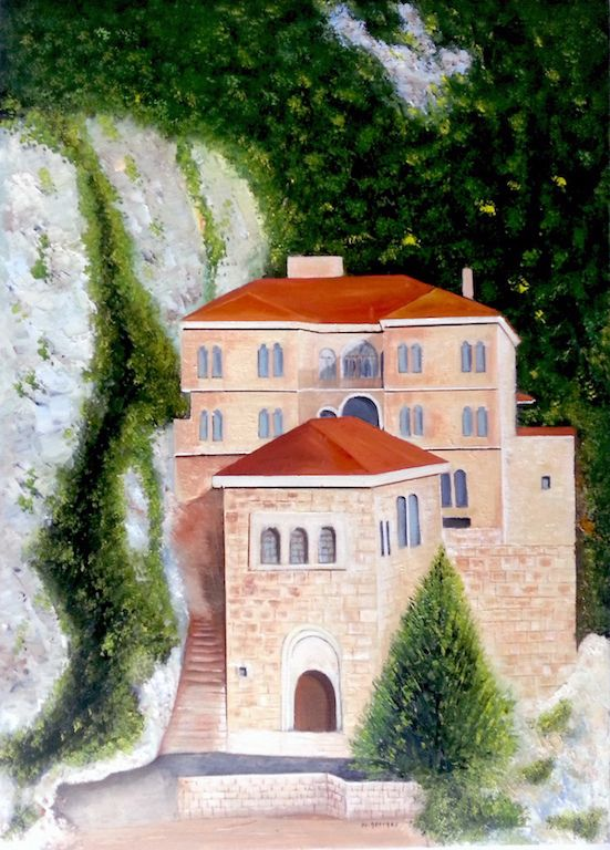 "St. Anthony (quzhaya) Lebanon -  original oil painting of Monastery of monks as religion place    in Lebanon an ancient building built between the rocks in a high mountain  very attractive in his character it is a landmark in the architecture in that time.   the  specification of the original oil painting ( religion oil painting)  Size :22"" X 16""  Material: oil on ca"
