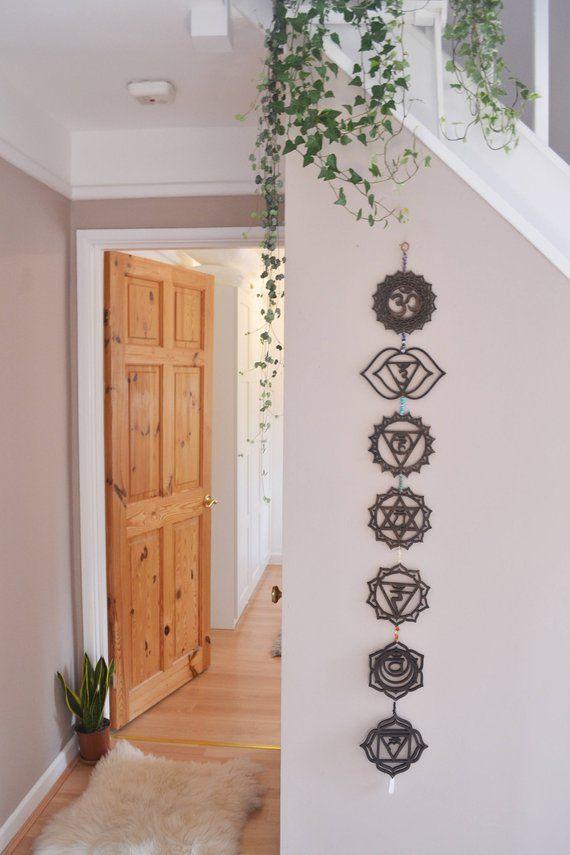 wood bead garland yoga decor boho wall hanging chakra wall hanging meditaion room chakra stones Chakra wall art mindfulness gift