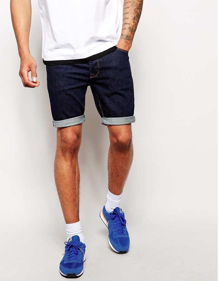 $36, Navy Denim Shorts: Asos Brand Denim Shorts In Skinny Fit. Sold by Asos. Click for more info: http://lookastic.com/men/shop_items/211208/redirect