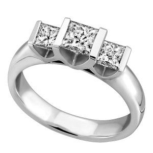14KT White gold 1.00 ctw princess cut Glacier Ice Canadian diamond Past Present and Future engagement ring. RIN-LCA-2786