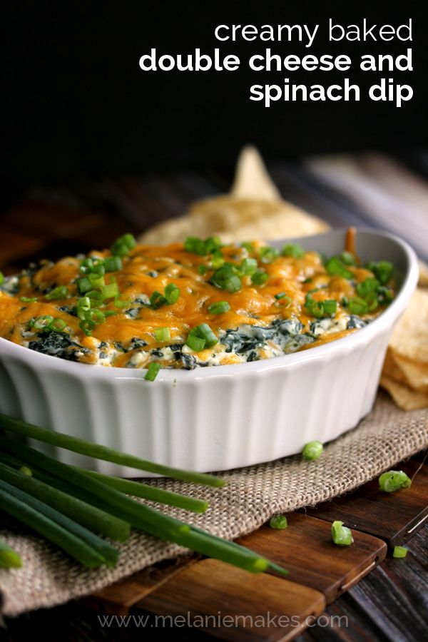 Creamy Baked Double Cheese and Spinach Dip | Melanie Makes