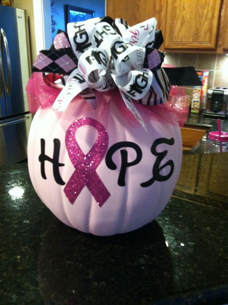 Cute Pink Breast Cancer Pumpkin For Fall! Love the idea of bringing the cause into Holiday Decor!