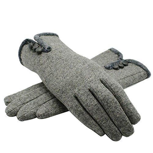 Cashmere Full Finger Gloves Button Closure for Winter