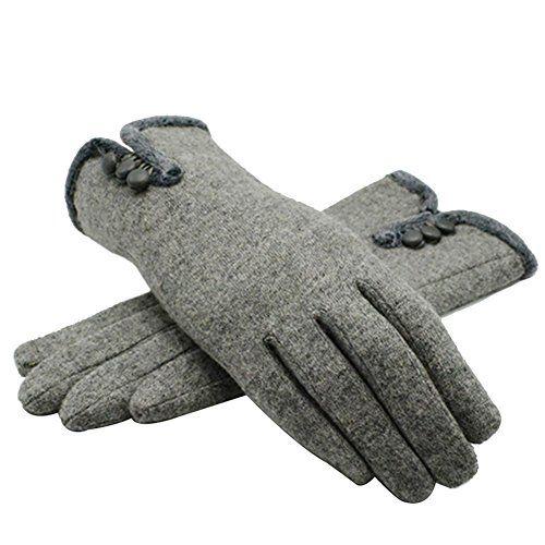 Cashmere Full Finger Gloves Button Closure for Winter