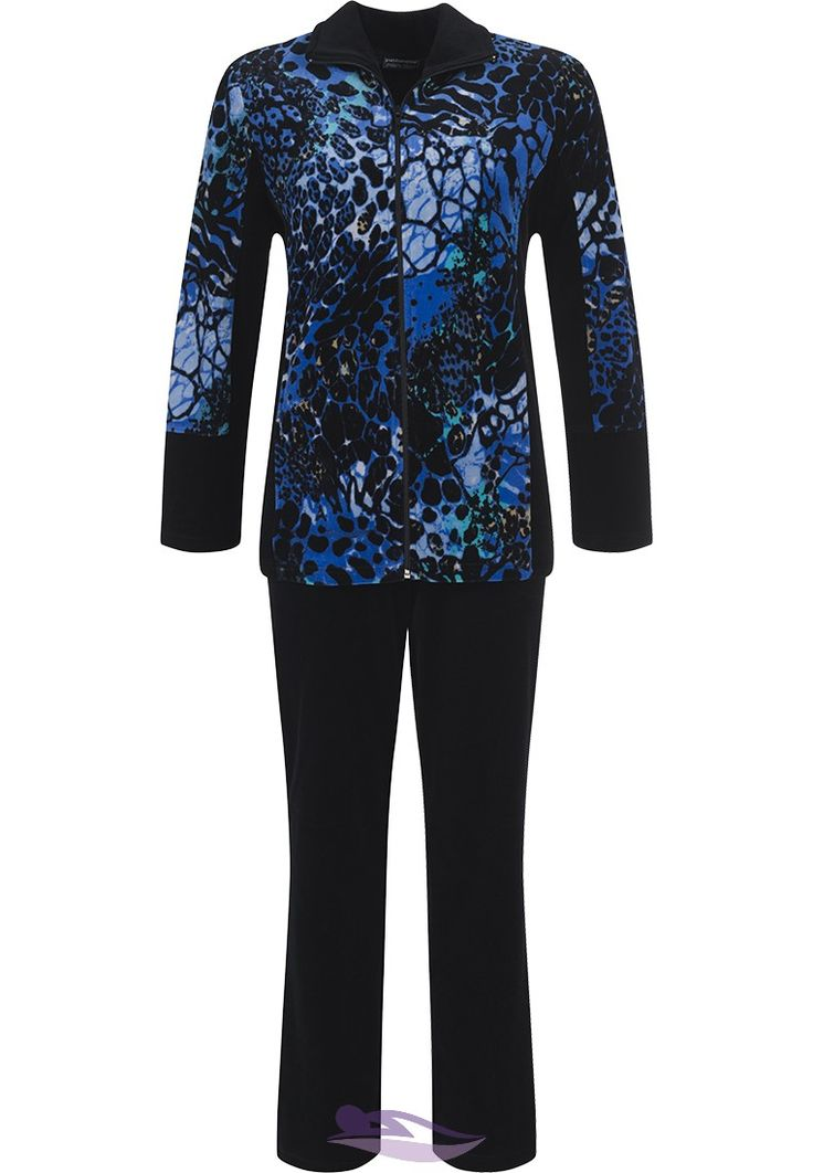 Chic & fashionable' leopard design print' navy blue velvet  Pastunette Deluxe  luxury homesuit