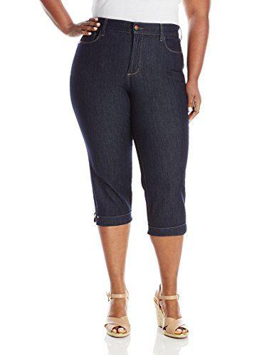 NYDJ Women's Plus-Size Ariel Cropped Jeans Novelty Classic Five Pocket Styling, Dark Enzyme Wash, 24W