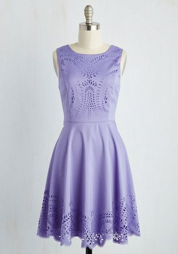Invitation Designer Dress in Amethyst. You set the tone for dream weddings and birthday bashes from the moment guests are summoned by your winsome invitations  and today, you're musing on this light purple dress! #purple #modcloth