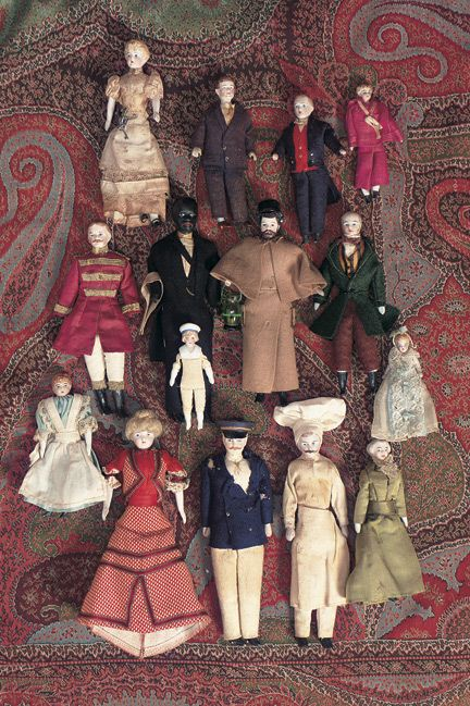 "Collection of German Bisque Dollhouse Dolls ca, 1890 - 3""-7"" (7-18 cm). Fifteen dollhouse dolls,each with bisque shoulderhead,painted hair and facial features,muslin body,bisque lower limbs with painted shoes and socks."