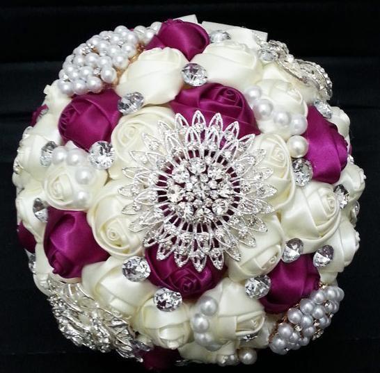 2014 handmade luxury Rhinestone pearl  Wedding bouquets European style bridal bouquets wedding accessories married rose flower