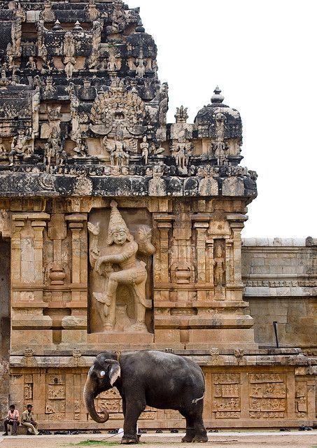 "Elephant shows scale. The Peruvudaiyar Kovil, also known as Brihadeeswara Temple, RajaRajeswara Temple and Rajarajeswaram at Thanjavur in the Indian state of Tamil Nadu, is a Hindu temple dedicated to Shiva and an art of the work achieved by Cholas in Tamil architecture. The temple is part of the UNESCO World Heritage Site ""Great Living Chola Temples"""
