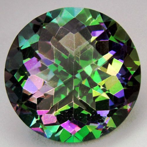 Very large Mystic Topaz Gemstone -large  - round circle cut faceted gemstone -  Rainbow Topaz - checkerboard quartz colorful big. $45.00, via Etsy.