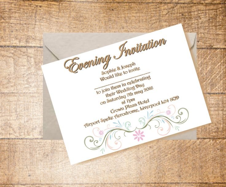 Wedding Evening Invitation and Envelope, Summer Wedding, Pastel Vintage Package by LoobyDooLetters on Etsy
