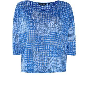 Blue 3/4 Sleeve Textured Tile Print Burnout Top