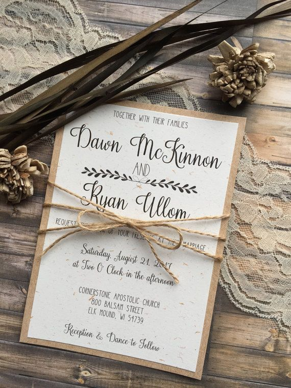 Rustic Wedding Invitation Vintage Wedding by DawnMarieCreations82